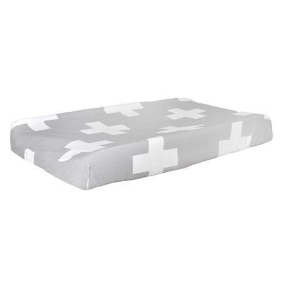 Changing Pad Cover | Gray Swiss Cross-Changing Pad Cover-Default-Jack and Jill Boutique