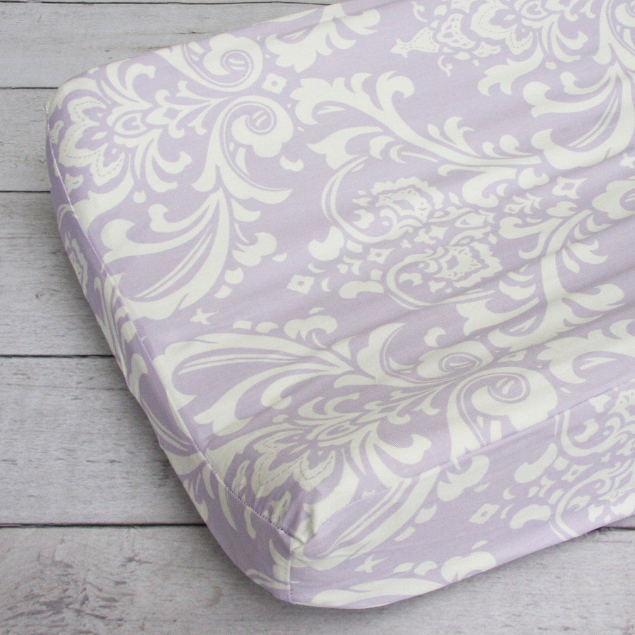 Changing Pad Cover | Lavender Sweet Lace Damask-Changing Pad Cover-Default-Jack and Jill Boutique