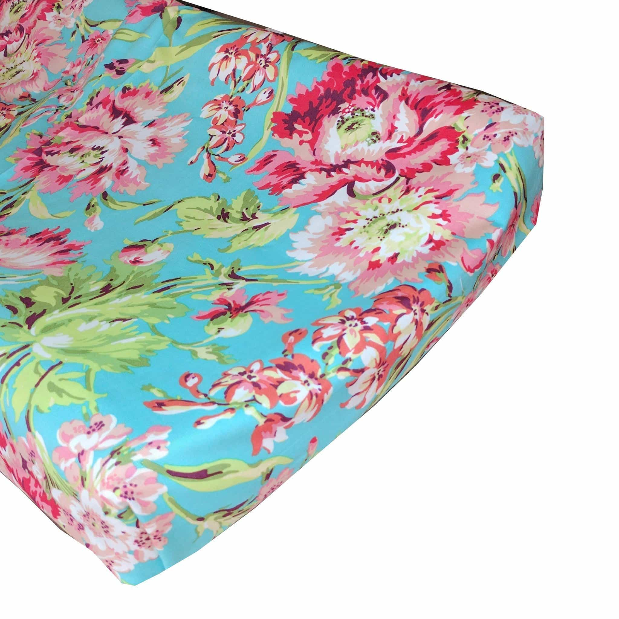 Changing Pad Cover | Love Bliss Bouquet - Coral and Teal-Changing Pad Cover-Caden Lane-Jack and Jill Boutique
