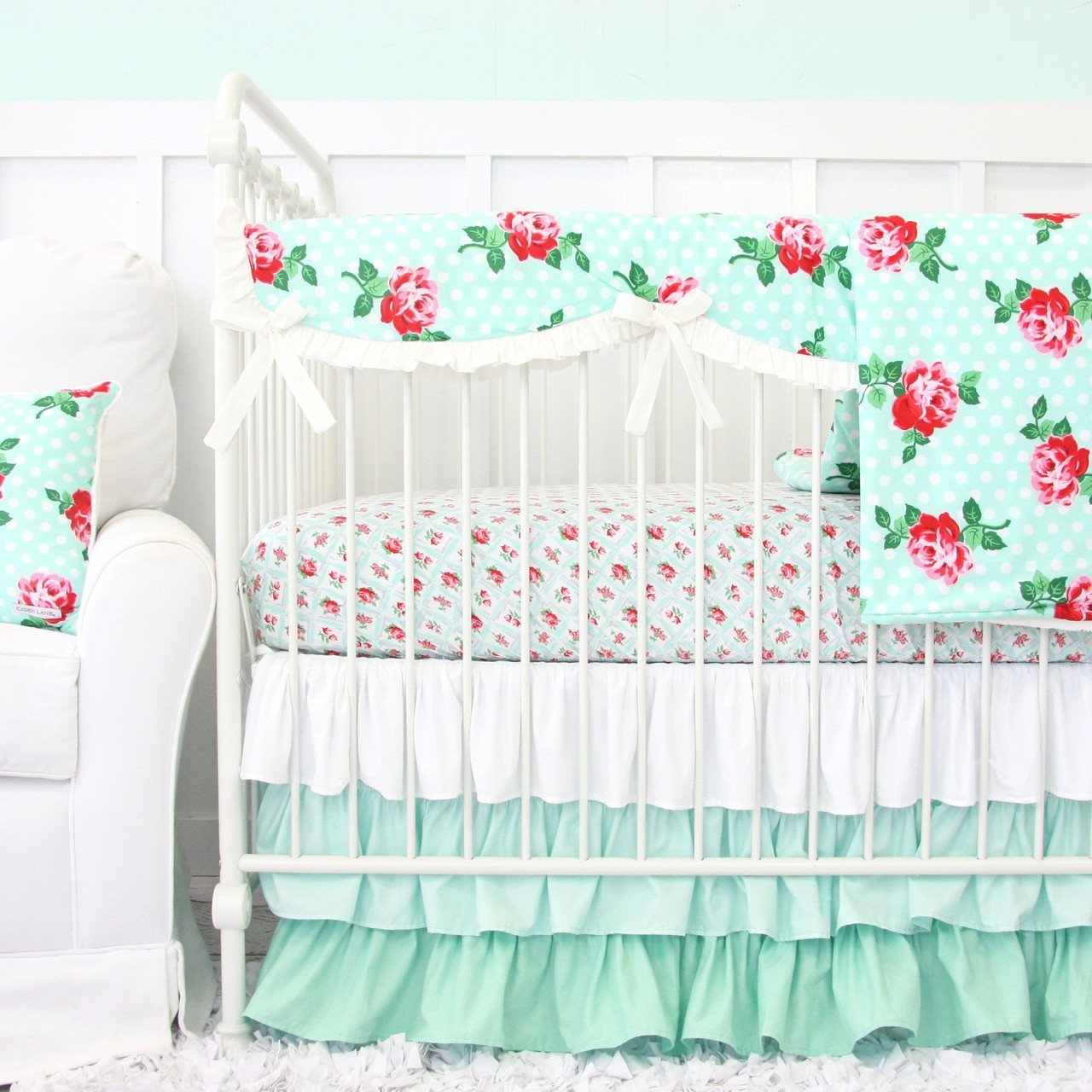Changing Pad Cover | Lucy's Mint Rose-Changing Pad Cover-Default-Jack and Jill Boutique