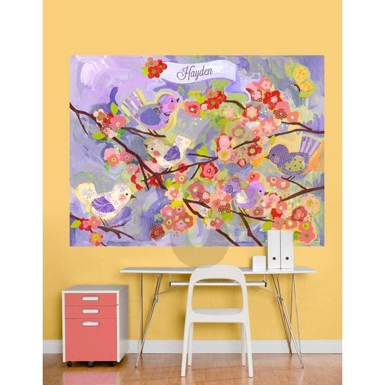 Cherry Blossom Birdies - Lavender & Coral-Wall Art-72x54-Jack and Jill Boutique