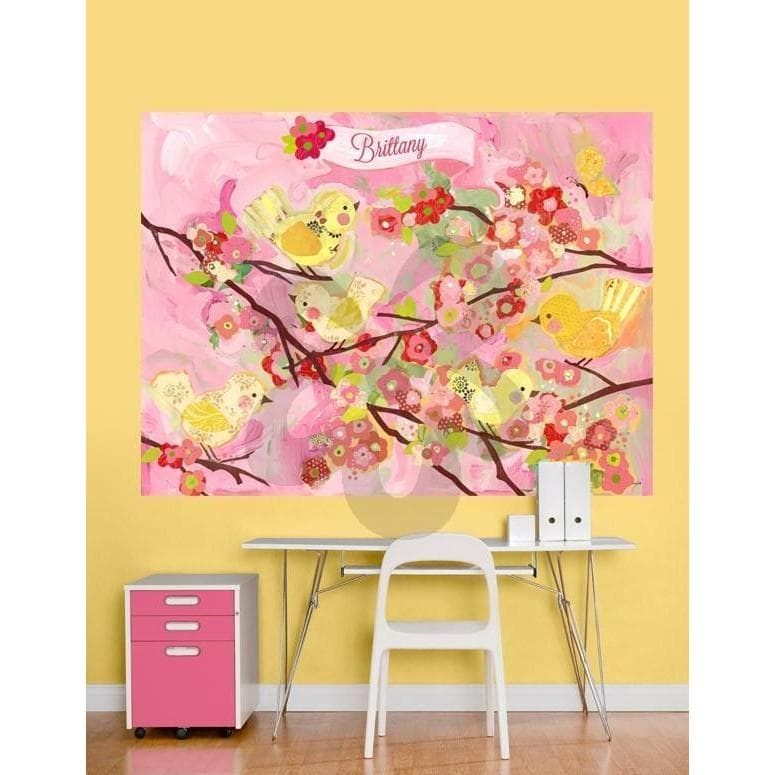 Cherry Blossom Birdies - Pink & Yellow-Wall Art-72x54-Jack and Jill Boutique