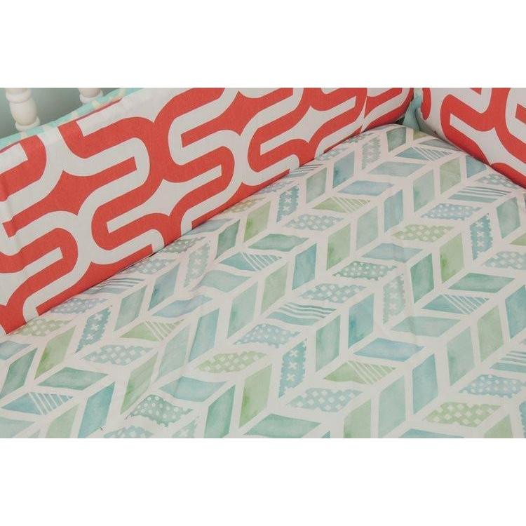 Chevron Baby Bedding | Aqua, Coral Crib Bedding-Crib Bedding Set-Default-Jack and Jill Boutique
