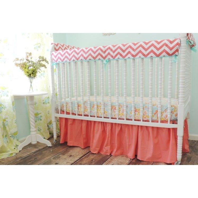 Chevron Baby Bedding | Coral, Yellow Crib Bedding-Crib Bedding Set-Default-Jack and Jill Boutique