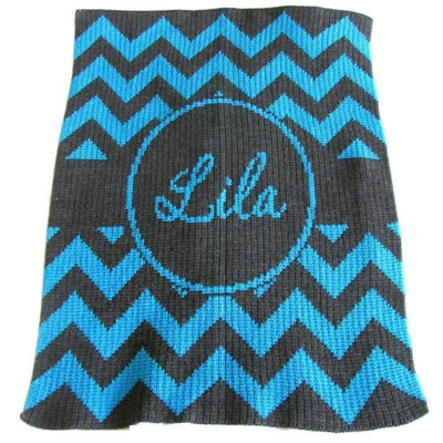 Chevron with Banner Personalized Stroller Blanket or Baby Blanket-Baby Blanket-Jack and Jill Boutique