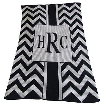 Chevron with Box Personalized Stroller Blanket or Baby Blanket-Blankets-Jack and Jill Boutique