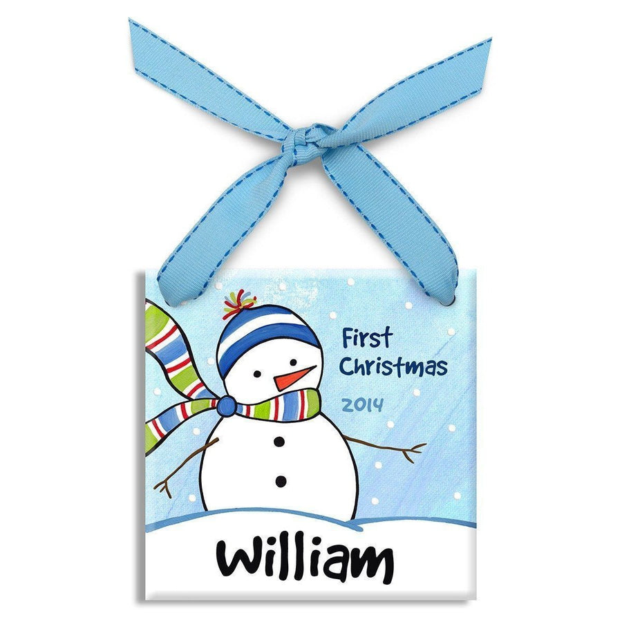 Chilly Snowman Boys Ornament-Ceramic Ornament-Default-Jack and Jill Boutique