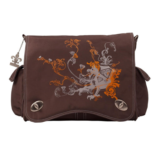 Chocolate/Tan Dragon Screened Sam'S Messenger Diaper Bag | Style 2962 - Kalencom-Diaper Bags-Jack and Jill Boutique