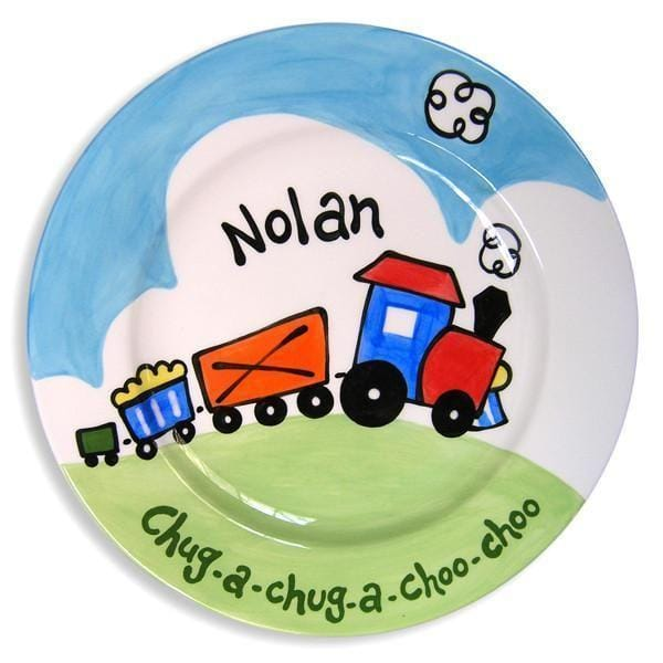 Choo-Choo Train Hand-Painted Ceramic Plate-Ceramic Plate-Jack and Jill Boutique