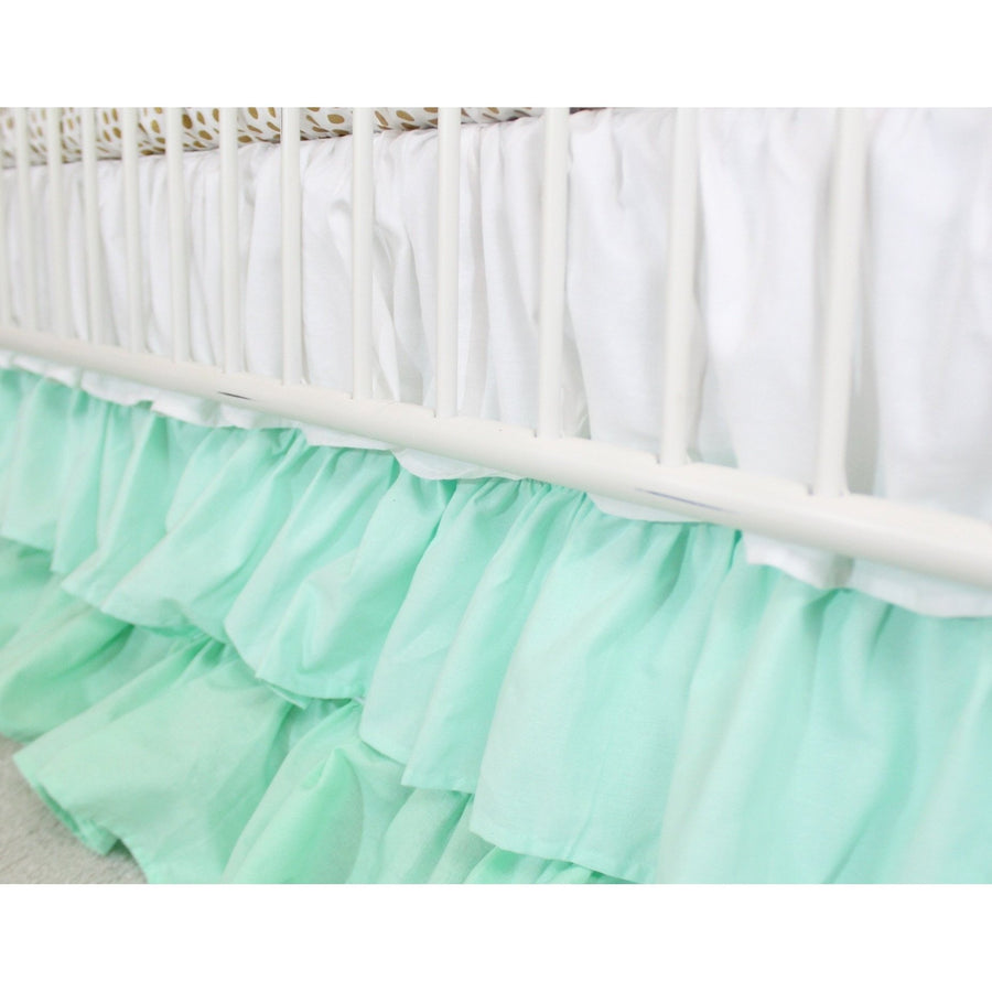 Chrissy's Girl Baby Bedding - Metallic Gold Dots with White to Mint Ombre Waterfall Ruffle Skirt