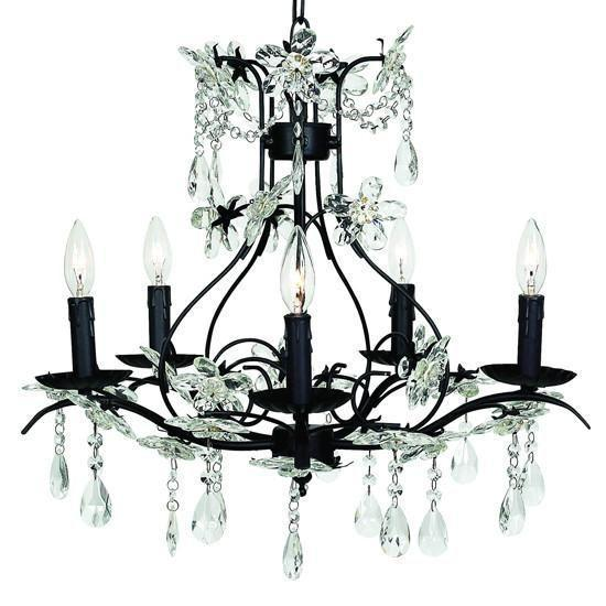 Cinderella Black Five-Light Chandelier-Chandeliers-Default-Jack and Jill Boutique