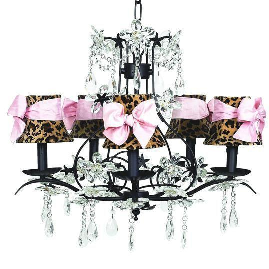 Cinderella Black Five-Light Chandelier with Leopard and Sash Chandelier Shades-Chandeliers-Default-Jack and Jill Boutique