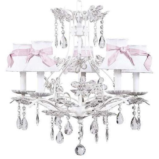 Cinderella White Five-Light Chandelier with Plain White with Sash Chandelier Shades-Chandeliers-Default-Jack and Jill Boutique