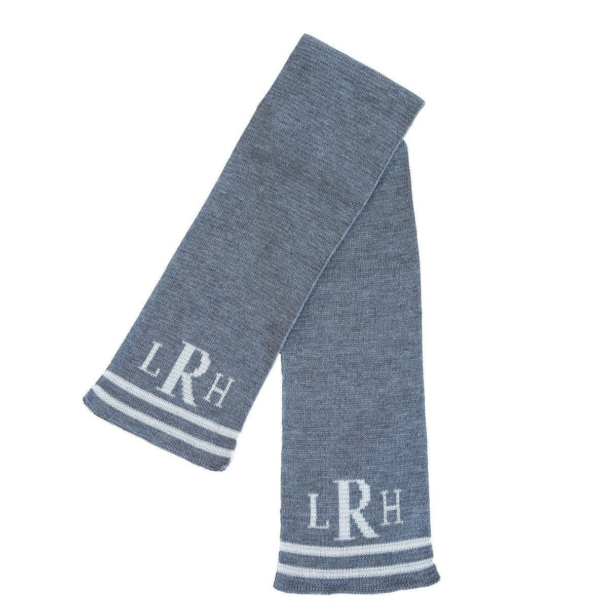 Classic Monogram & Stripes Personalized Knit Scarf-Scarves-Default-Jack and Jill Boutique