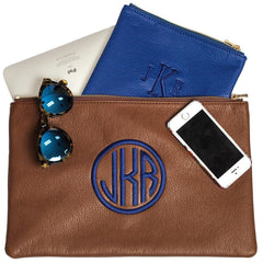 Cobalt Monogrammed Personalized Clutch-Bag-Butterscotch Blankees-Jack and Jill Boutique