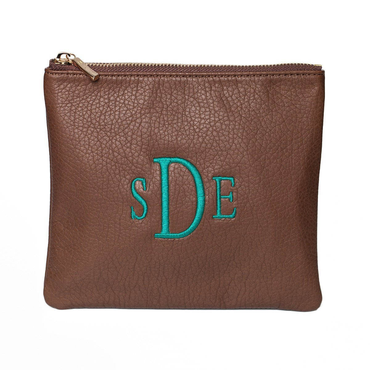 Cognac Personalized Makeup Bag-Bag-Default-Jack and Jill Boutique