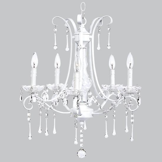 Colleen Chandelier - 5 Light - White with glass center and crystals-Chandeliers-Default-Jack and Jill Boutique