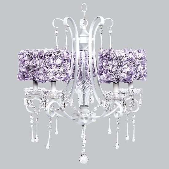 Colleen White Five-Light Chandelier with Lavender Rose Garden Drum Shades-Chandeliers-Default-Jack and Jill Boutique