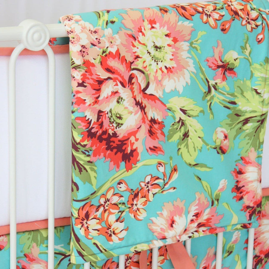 Love Bliss Bouquet Peach Ruffle | Crib Baby Bedding Set