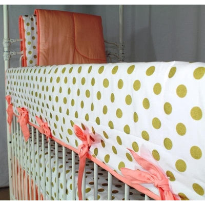 Coral Sunset, Papaya and Gold Dots Ruffle Baby Bedding | Coral Shades and Gold Dots Crib Bedding-Crib Bedding Set-Default-Jack and Jill Boutique
