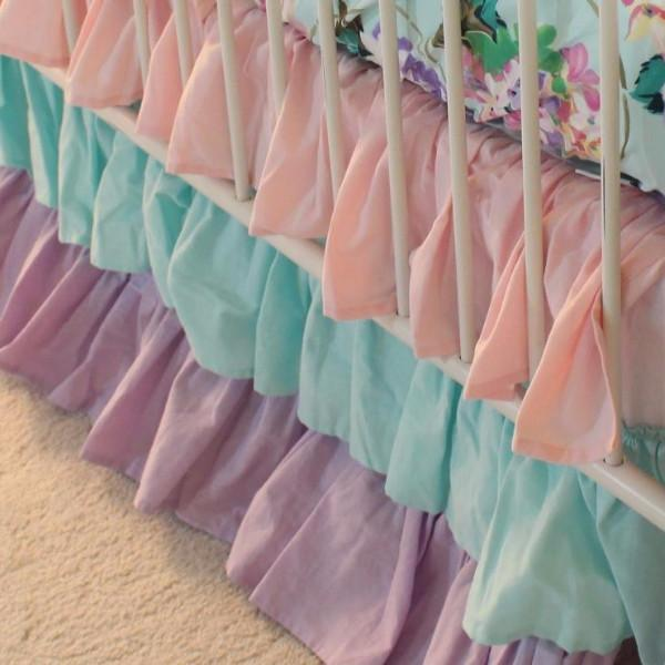 Cordelia's Girl Baby Bedding Crib Skirt | Floral Pastel Pink Blue Lavender-Crib Skirt-Jack and Jill Boutique