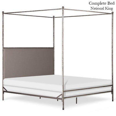 Corsican Iron Canopy Bed 43058 | Straight Canopy Bed with Upholstered Headboard Panel-Canopy Bed-Jack and Jill Boutique