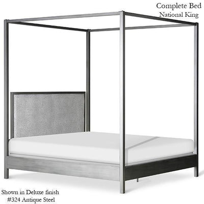 Corsican Iron Canopy Bed 43646 | Straight Square Post Canopy Bed with Upholstered Panel Headboard-Canopy Bed-Jack and Jill Boutique