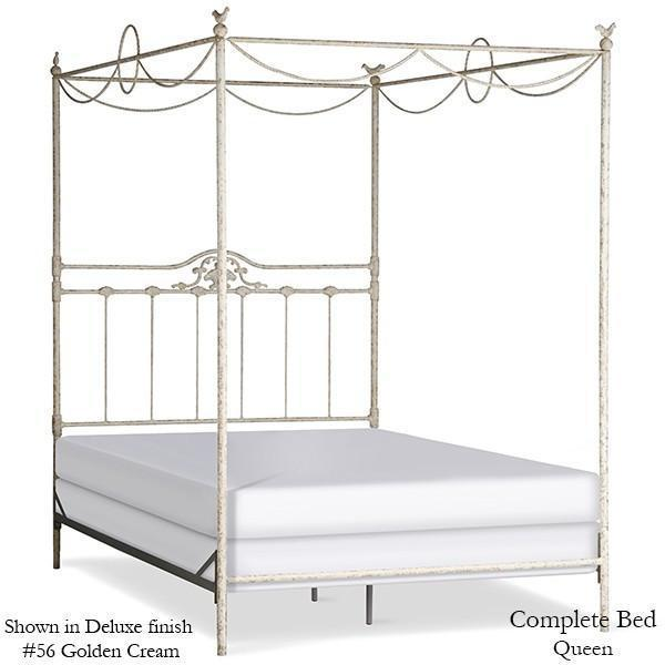 Corsican Iron Canopy Bed 6302 | Swag Canopy Bed with Shell and Birds