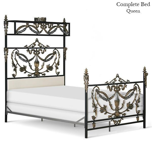 Corsican Iron Standard Bed 41632 | French Canopy Bed with Angels & upholstered