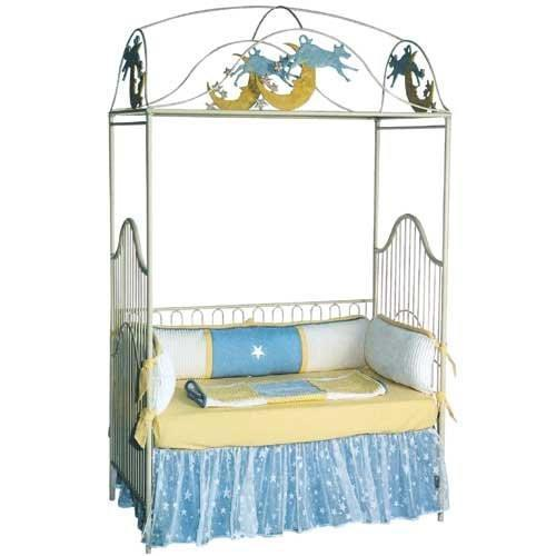 Cow jumped over the moon canopy crib vintage iron crib for Canopy above crib