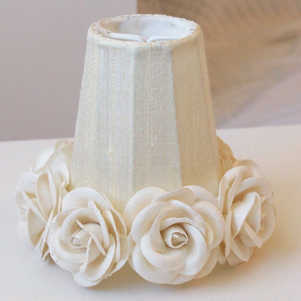 Chandelier or Sconce Shades with Roses-Chandelier Shades-Cream-2 Shades-Jack and Jill Boutique