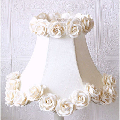 Cream Dupioni Silk Lamp Shade with Roses-Lamp Shades-Default-Jack and Jill Boutique