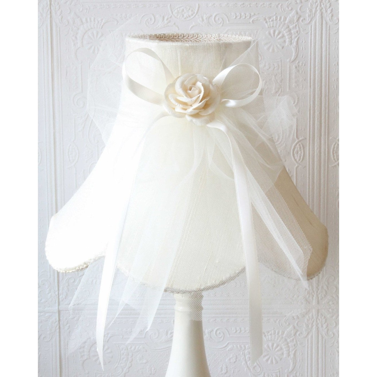 Cream Dupioni Silk Lamp Shade with Tulle Bow-Lamp Shades-Default-Jack and Jill Boutique