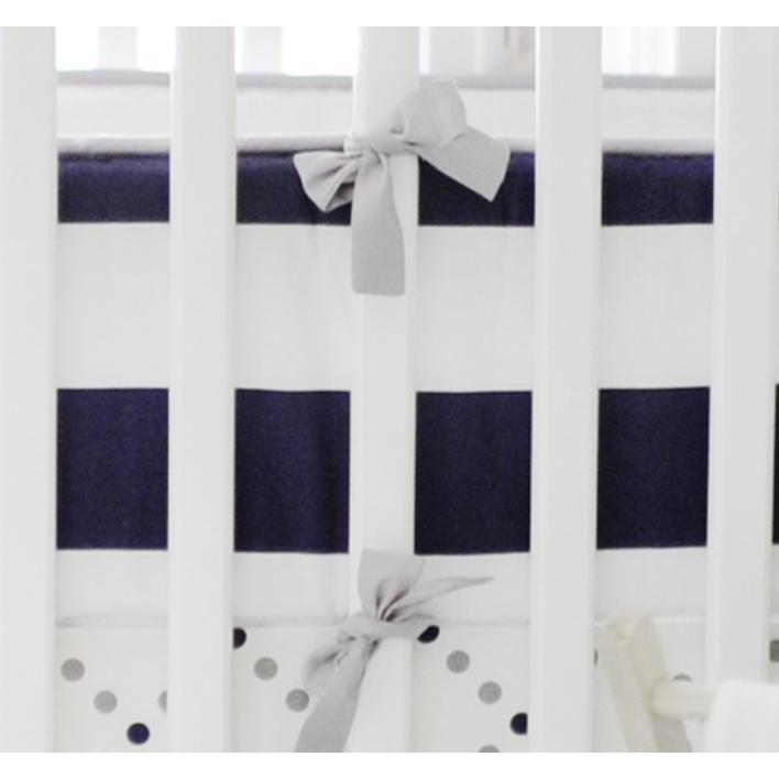Crib Bumper | Gray and Navy Out of the Blue-Bumper-Jack and Jill Boutique