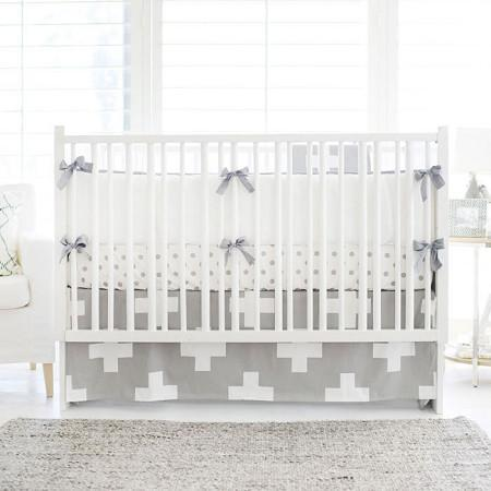 Crib Bumper | Gray Swiss Cross Crib Baby Bedding Set