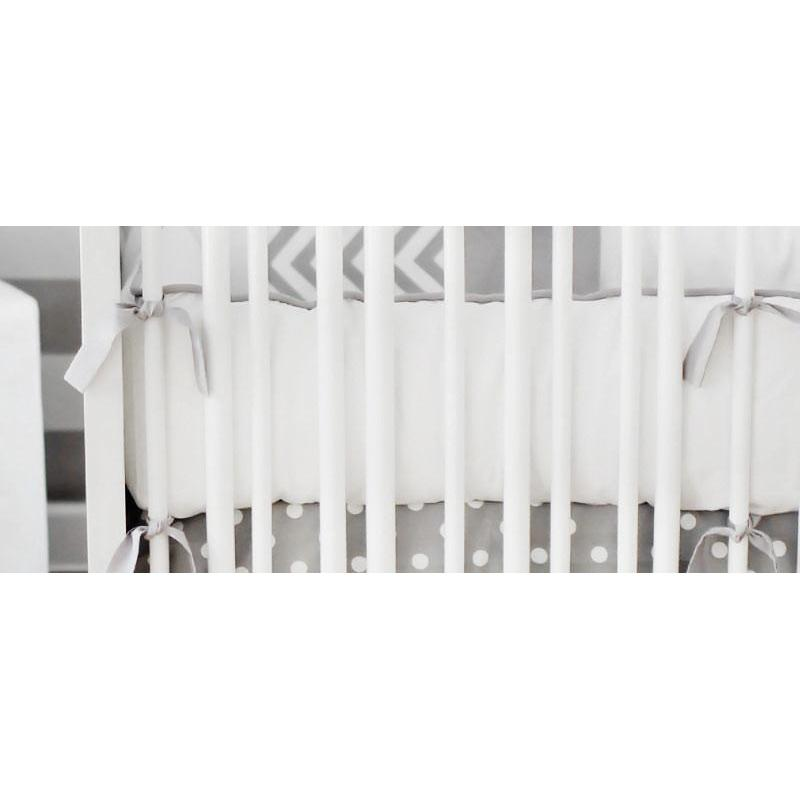 Crib Bumper | White & Gray Sweet & Simple Crib Baby Bedding Set