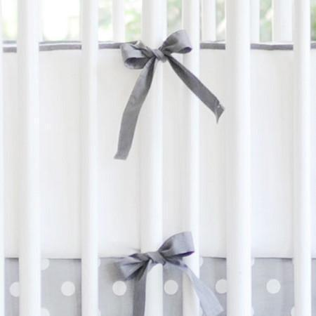 Crib Bumper | White & Gray Sweet & Simple Crib Baby Bedding Set-Bumper-Jack and Jill Boutique