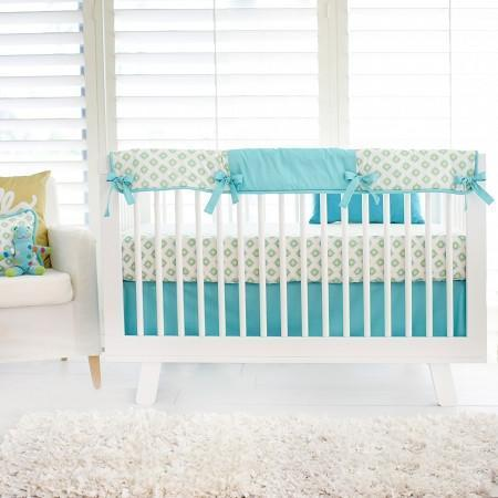 Crib Rail Cover | Aztec Baby in Aqua-Crib Rail Cover-Jack and Jill Boutique