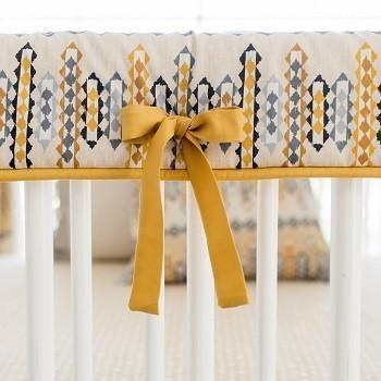 Crib Rail Cover | Aztec Navajo in Gold-Crib Rail Cover-Jack and Jill Boutique