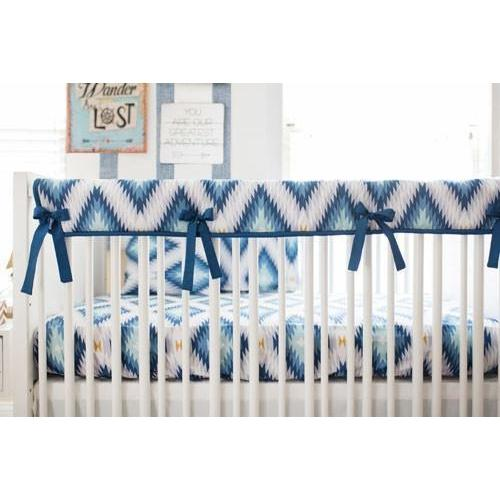 Crib Rail Cover | Aztec Wander in Blue-Crib Rail Cover-Jack and Jill Boutique