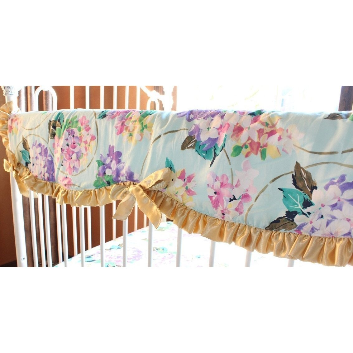 Crib Rail Cover | Cordelia Aqua Baby Bedding-Crib Rail Cover-Gold Edging-Jack and Jill Boutique