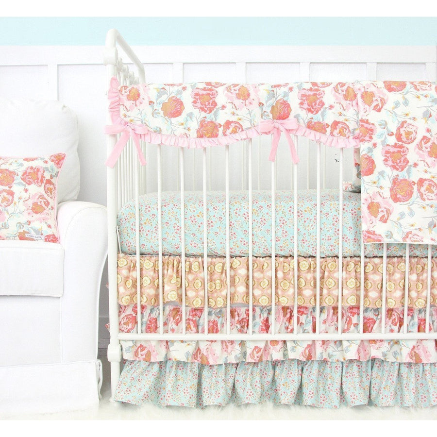 Crib Rail Cover | Felicity's Pink Vintage Floral-Crib Rail Cover-Jack and Jill Boutique
