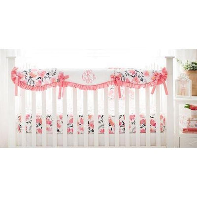 Crib Rail Cover | Floral Rosewater in Coral-Crib Rail Cover-Jack and Jill Boutique