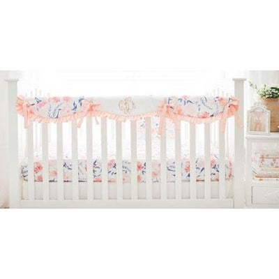 Crib Rail Cover | Floral Rosewater in Peach-Crib Rail Cover-Jack and Jill Boutique