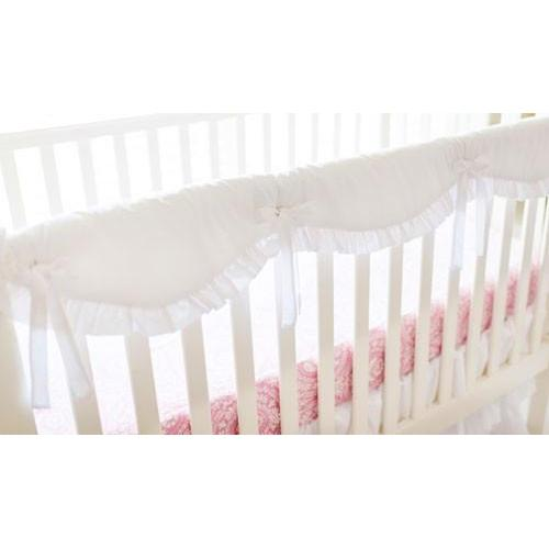 Crib Rail Cover | Girl White Bumperless-Crib Rail Cover-Jack and Jill Boutique