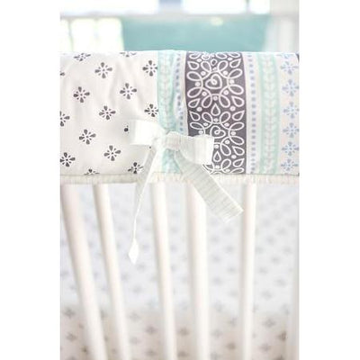 Crib Rail Cover | Gray & Aqua Harper in Aqua-Crib Rail Cover-Jack and Jill Boutique