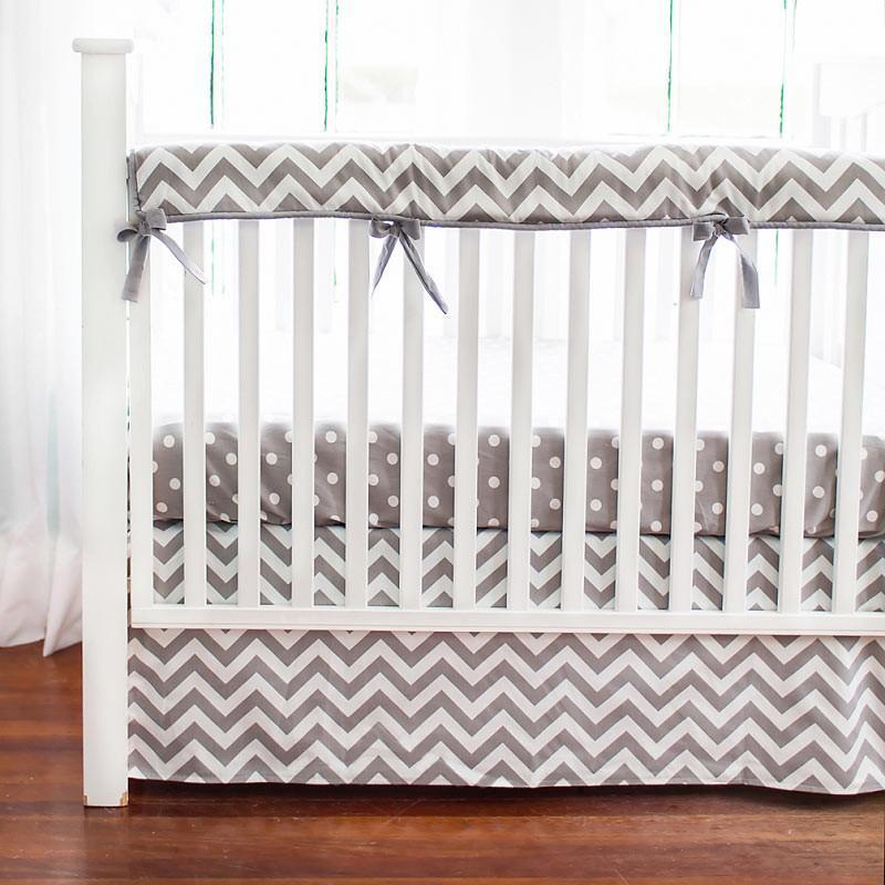 Crib Rail Cover-Jack and Jill Boutique-Crib Rail Cover | Gray Chevron Zig Zag