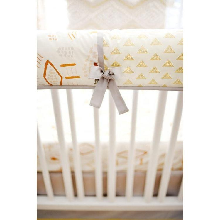 Crib Rail Cover | Gray & Gold Tribal Head West-Crib Rail Cover-Jack and Jill Boutique