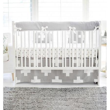 Crib Rail Cover | Gray Swiss Cross-Crib Rail Cover-Jack and Jill Boutique