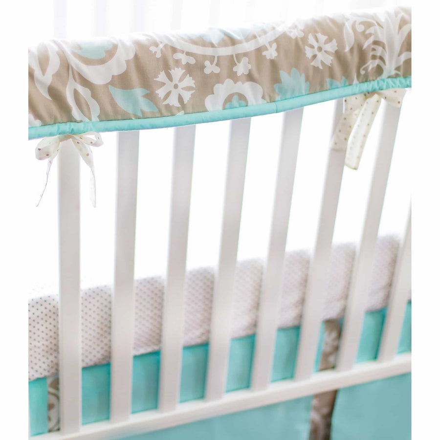 Crib Rail Cover | Khaki & Aqua Suzani Picket Fence-Crib Rail Cover-Jack and Jill Boutique